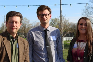 Ohio State University Lantern Media Adviser and Central Ohio SPJ board member Spencer Hunt, left, and two winners of 2016 scholarships from SPJ: Faulkner Scholarship winner Michael Husan and Meckstroth Scholarship winner Taylor Ferrell.