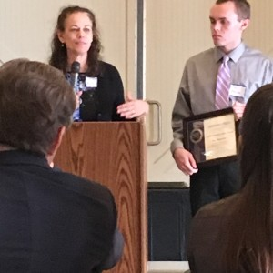 Lisa Bowersock and Tom Bowersock accept the Lifetime Achievement Award for their late husband and father, WCMH-TV reporter Mike Bowersock, at the Central Ohio SPJ Founders Day celebration April 20.
